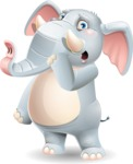 Elephant Cartoon Vector Character - Making Oops gesture