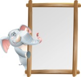 Elephant Cartoon Vector Character - Making peace sign with Big Presentation board