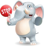 Elephant Cartoon Vector Character - Making stop gesture with both hands