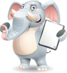 Elephant Cartoon Vector Character - Making thumbs up with notepad