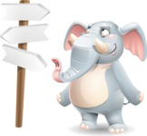 Elephant Cartoon Vector Character - on a Crossroad with sign pointing in all directions