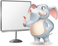 Elephant Cartoon Vector Character - Pointing on a Blank whiteboard
