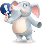 Elephant Cartoon Vector Character - Pointing with a fnger
