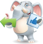 Elephant Cartoon Vector Character - Pointing with arrow and holding thumbs up sign