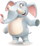 Elephant Cartoon Vector Character - Pointing with left hand