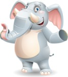 Elephant Cartoon Vector Character - Presenting with both hands