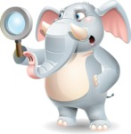 Elephant Cartoon Vector Character - Searching with magnifying glass