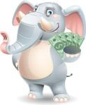 Elephant Cartoon Vector Character - Holding Money