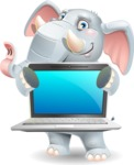 Elephant Cartoon Vector Character - Showing a laptop