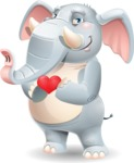 Elephant Cartoon Vector Character - Showing Love