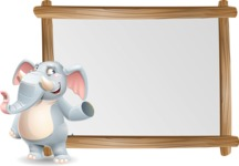 Elephant Cartoon Vector Character - Showing on Big whiteboard