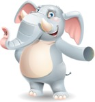 Elephant Cartoon Vector Character - Showing with left hand