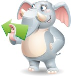 Elephant Cartoon Vector Character - Showing with right hand