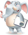 Elephant Cartoon Vector Character - Smiling and holding notepad