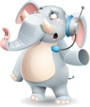 Elephant Cartoon Vector Character - Talking on phone