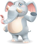 Elephant Cartoon Vector Character - Waving for Goodbye with a hand