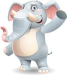 Elephant Cartoon Vector Character - Waving