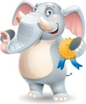 Elephant Cartoon Vector Character - Winning prize