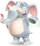 Elephant Cartoon Vector Character - with a Blank Business card