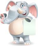 Elephant Cartoon Vector Character - with a Blank paper