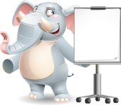 Elephant Cartoon Vector Character - with a Blank Presentation board
