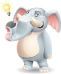 Elephant Cartoon Vector Character - with a Light bulb
