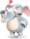 Elephant Cartoon Vector Character - with Angry face