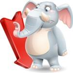 Elephant Cartoon Vector Character - with Arrow going Down