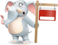 Elephant Cartoon Vector Character - with Blank Real estate sign