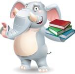 Elephant Cartoon Vector Character - with Books