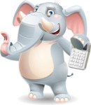 Elephant Cartoon Vector Character - with Calculator