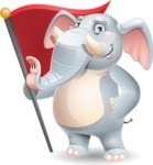 Elephant Cartoon Vector Character - with Flag