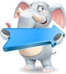 Elephant Cartoon Vector Character - with Positive arrow