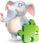 Elephant Cartoon Vector Character - with Puzzle