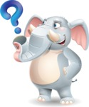 Elephant Cartoon Vector Character - with Question mark