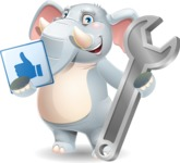 Elephant Cartoon Vector Character - with Repairing tool wrench