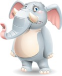 Elephant Cartoon Vector Character - with Sad face