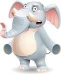 Elephant Cartoon Vector Character - with Stunned face