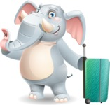 Elephant Cartoon Vector Character - with Suitcase