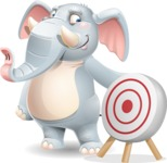 Elephant Cartoon Vector Character - with Target