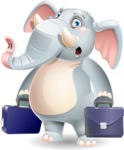 Elephant Cartoon Vector Character - with Two briefcases