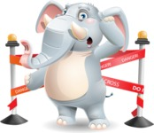 Elephant Cartoon Vector Character - with Under Construction sign