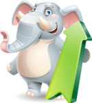 Elephant Cartoon Vector Character - with Up arrow