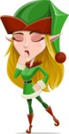 Female Christmas Elf Cartoon Vector Character - Being Bored
