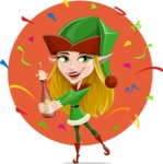 Female Christmas Elf Cartoon Vector Character - Celebrating Illustration Concept