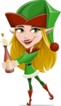 Female Christmas Elf Cartoon Vector Character - Celebrating With Champagne