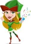 Female Christmas Elf Cartoon Vector Character - Celebrating with Confetti
