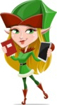 Female Christmas Elf Cartoon Vector Character - Choosing Between a Book and a Modern Tablet Reading