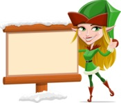 Female Christmas Elf Cartoon Vector Character - Choosing the Way in Snow