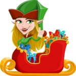 Female Christmas Elf Cartoon Vector Character - Christmas Sleigh